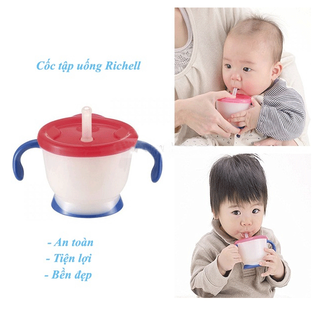 Cốc tập uống Richell 3 giai đoạn tay đỏ 2