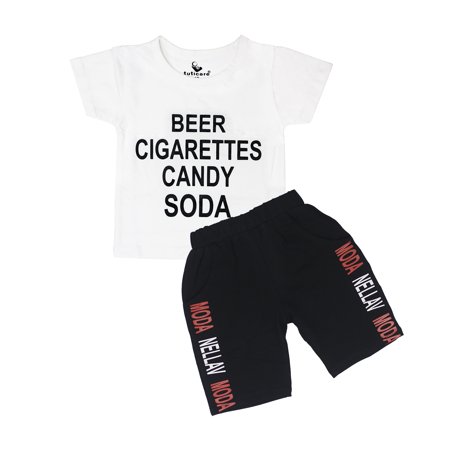 Bộ cộc tay Beer size 7 - Trắng